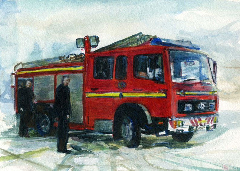 fire appliance in the snow