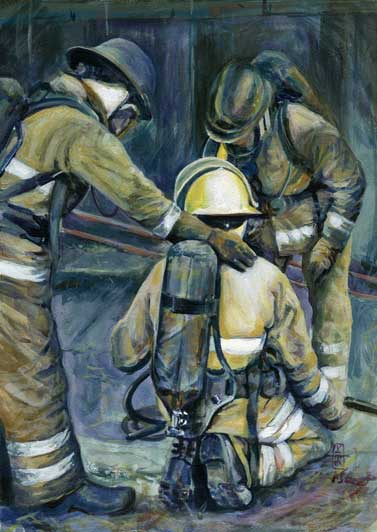 checking o0n a fire fighter colleague. painting by Vicky Stonebridge